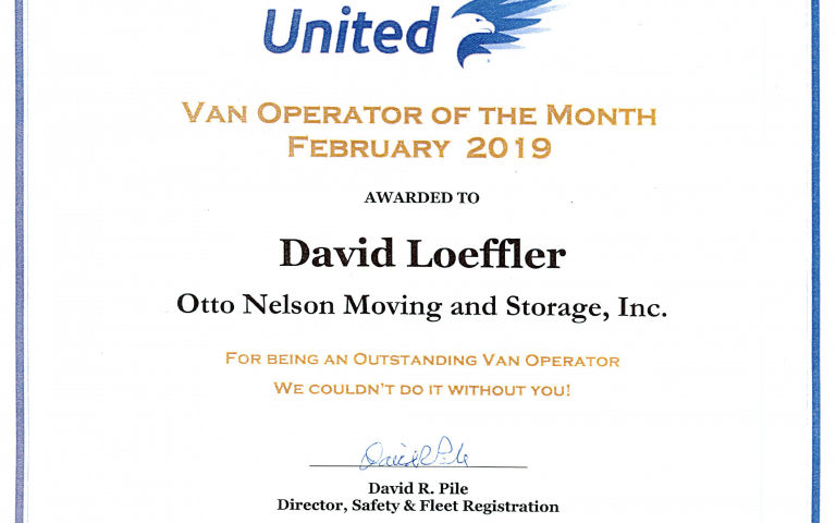 united van operator of the month, otto nelson, movers in kenosha